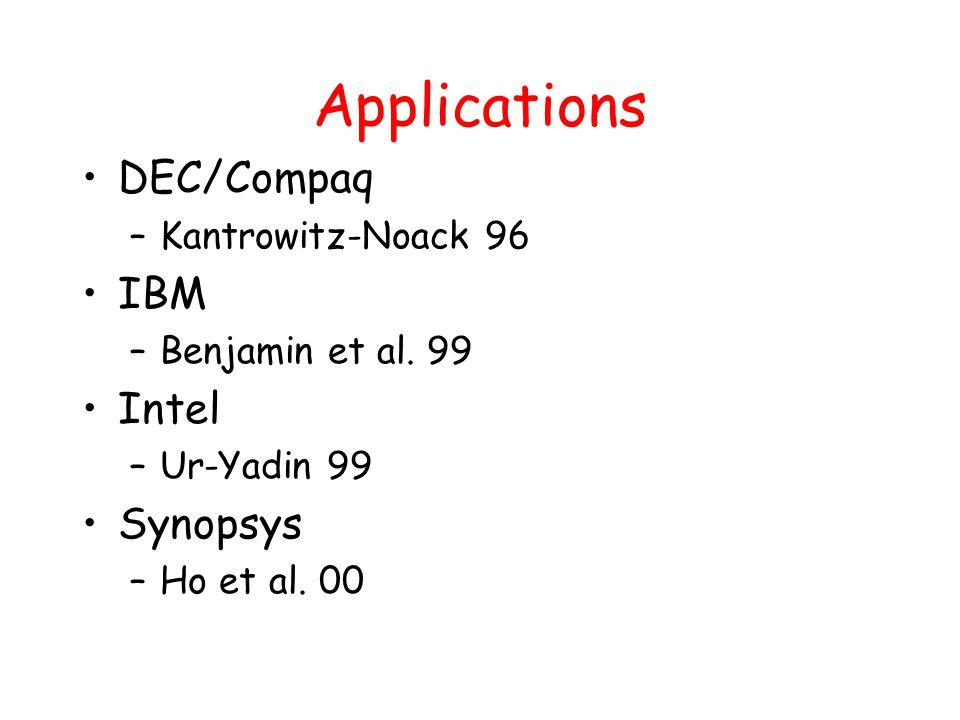 Applications DEC/Compaq –Kantrowitz-Noack 96 IBM –Benjamin et al. 99 Intel –Ur-Yadin 99 Synopsys –Ho et al. 00