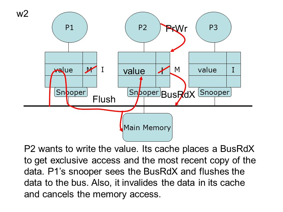 P2 wants to load w1.This generates a cache miss. P2's cache issues a BusRd transaction.
