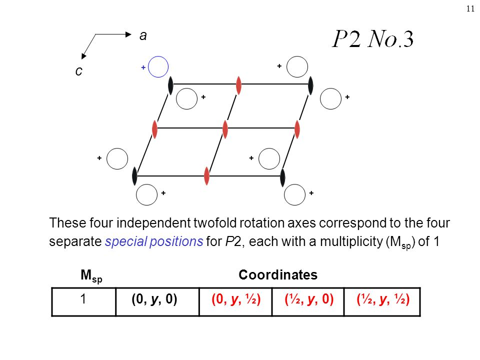 11 M sp Coordinates + + + ++ + ++ These four independent twofold rotation axes correspond to the four separate special positions for P2, each with a multiplicity (M sp ) of 1 1 (0, y, 0) (0, y, ½) (½, y, 0) (½, y, ½) a c
