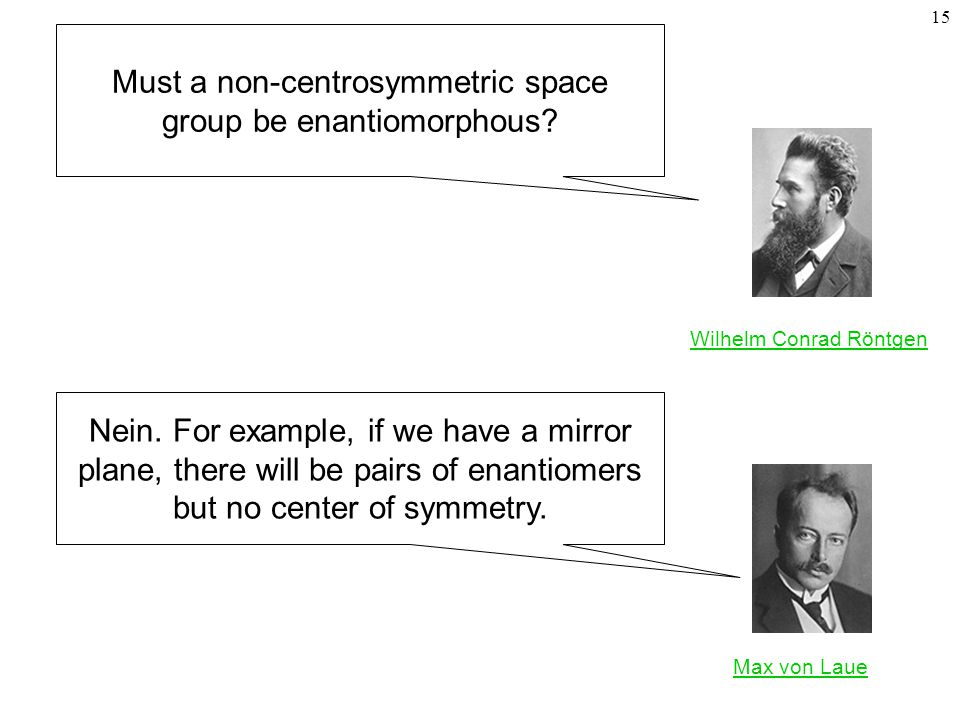 15 Must a non-centrosymmetric space group be enantiomorphous.