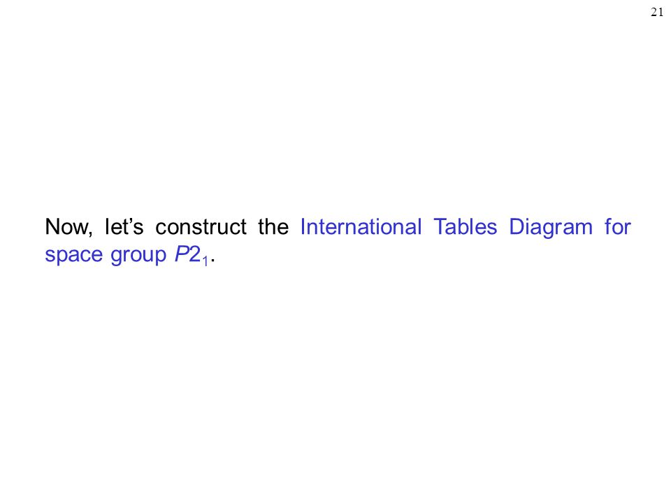 21 Now, let's construct the International Tables Diagram for space group P2 1.