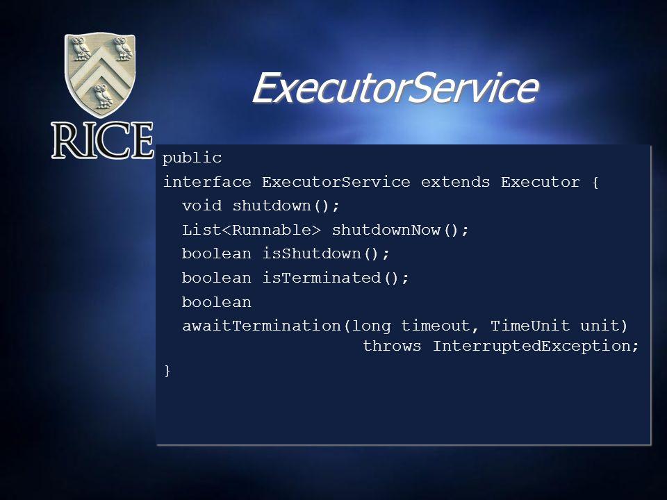ExecutorService public interface ExecutorService extends Executor { void shutdown(); List shutdownNow(); boolean isShutdown(); boolean isTerminated(); boolean awaitTermination(long timeout, TimeUnit unit) throws InterruptedException; } public interface ExecutorService extends Executor { void shutdown(); List shutdownNow(); boolean isShutdown(); boolean isTerminated(); boolean awaitTermination(long timeout, TimeUnit unit) throws InterruptedException; }