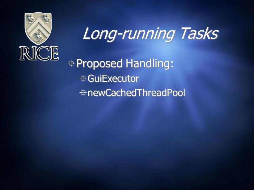 Long-running Tasks  Proposed Handling:  GuiExecutor  newCachedThreadPool  Proposed Handling:  GuiExecutor  newCachedThreadPool