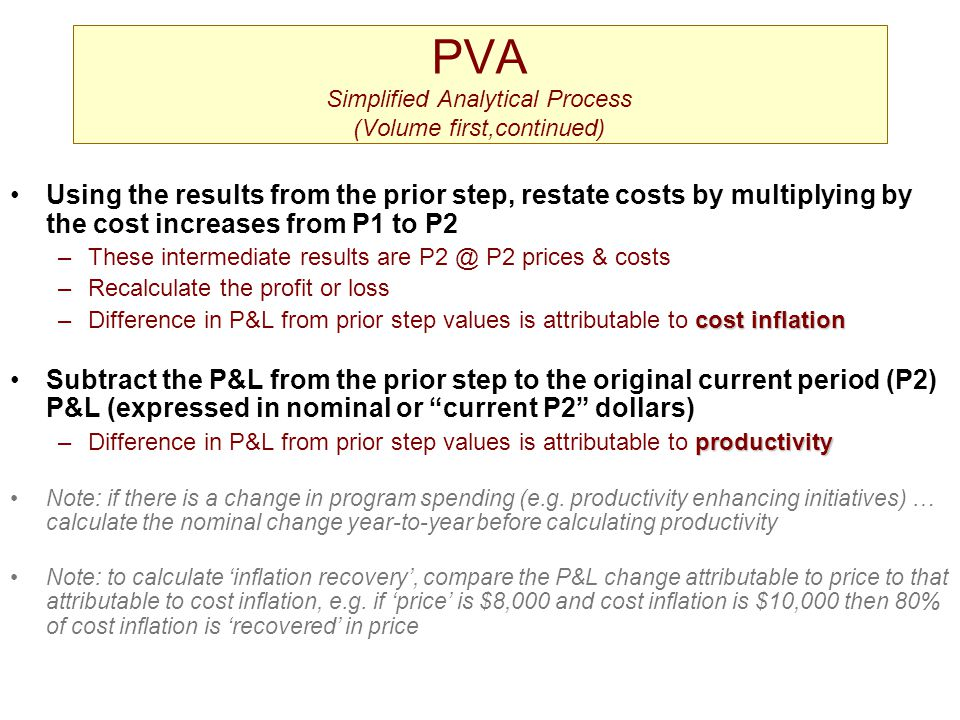 PVA Simplified Analytical Process (Volume first,continued) Using the results from the prior step, restate costs by multiplying by the cost increases f