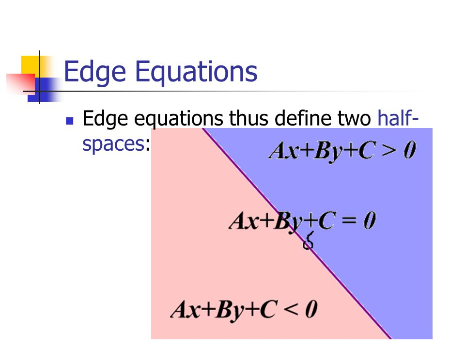 Edge Equations Edge equations thus define two half- spaces: