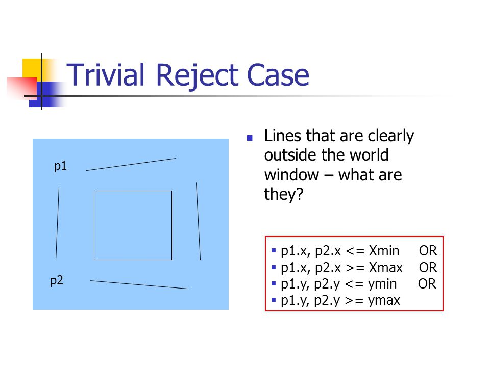 Trivial Reject Case Lines that are clearly outside the world window – what are they.