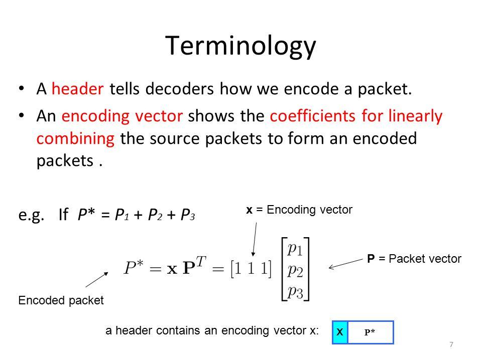 7 Terminology A header tells decoders how we encode a packet.