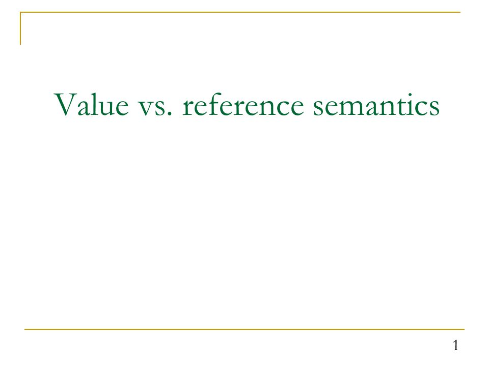 Recall: Value semantics value semantics: Behavior where variables are copied when assigned to each other or passed as parameters.