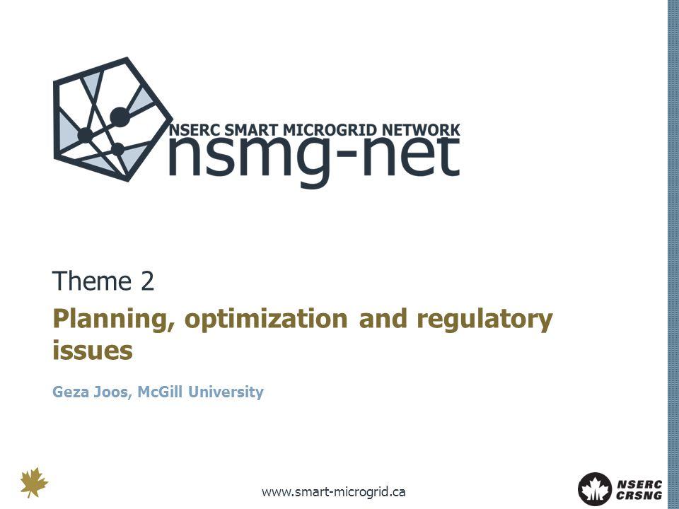 www.smart-microgrid.ca Theme 2 Planning, optimization and regulatory issues Geza Joos, McGill University