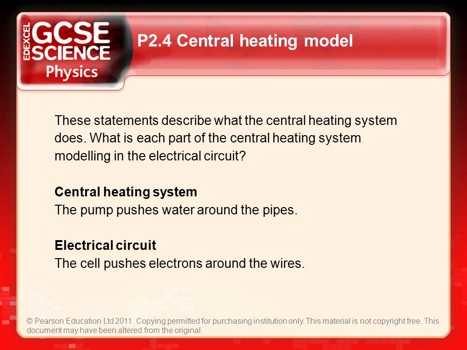 P2.4 Central heating model © Pearson Education Ltd 2011.