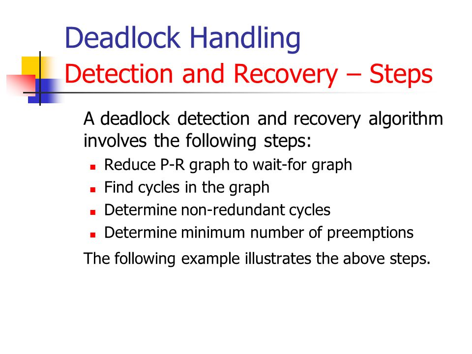 Deadlock Handling Detection and Recovery – Steps A deadlock detection and recovery algorithm involves the following steps: Reduce P-R graph to wait-for graph Find cycles in the graph Determine non-redundant cycles Determine minimum number of preemptions The following example illustrates the above steps.