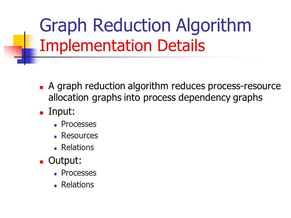 Graph Reduction Algorithm Implementation Details A graph reduction algorithm reduces process-resource allocation graphs into process dependency graphs Input: Processes Resources Relations Output: Processes Relations