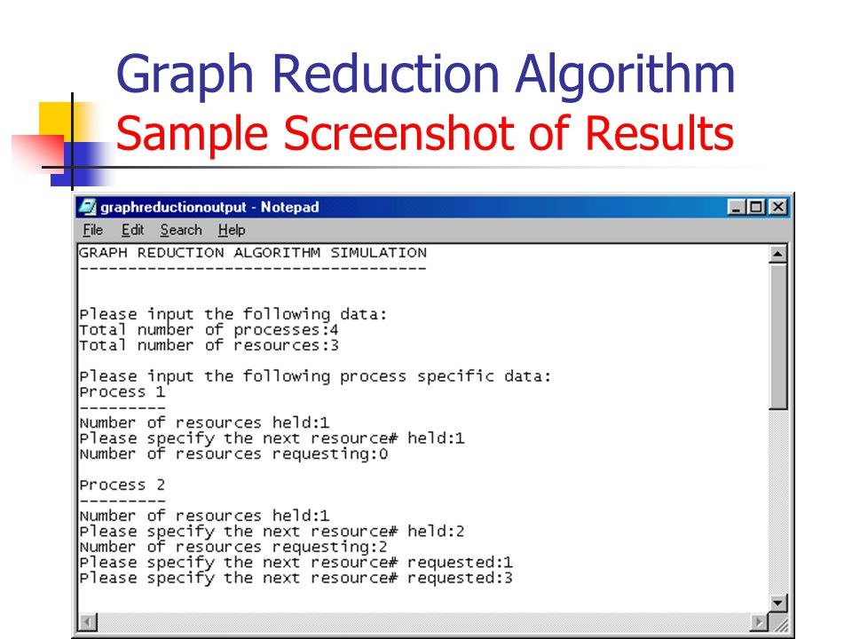 Graph Reduction Algorithm Sample Screenshot of Results