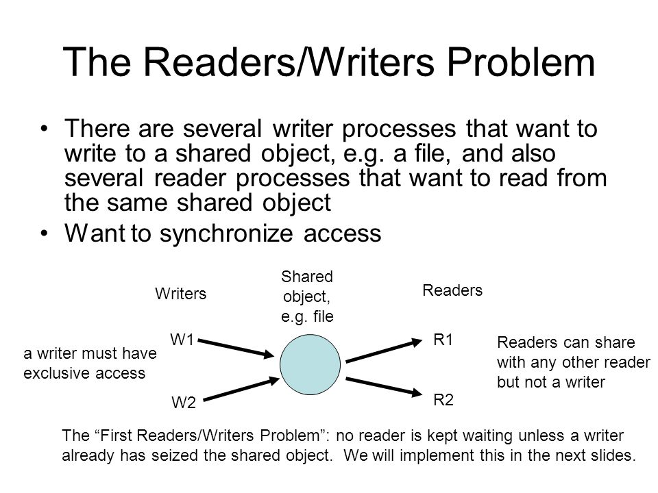 The Readers/Writers Problem There are several writer processes that want to write to a shared object, e.g.