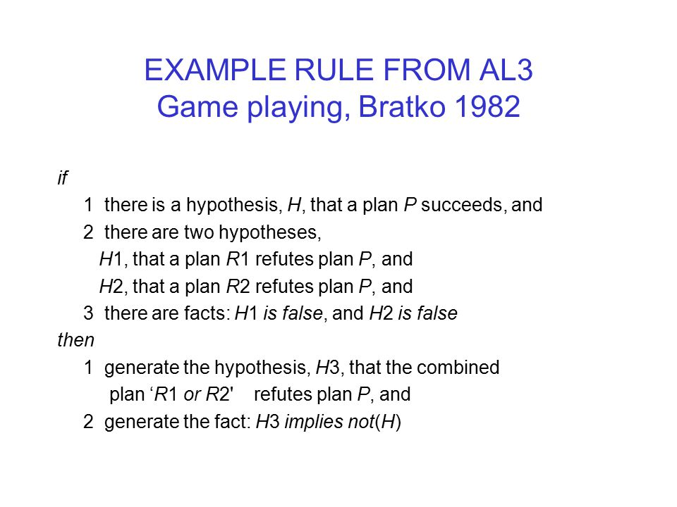 EXAMPLE RULE FROM AL3 Game playing, Bratko 1982 if 1 there is a hypothesis, H, that a plan P succeeds, and 2 there are two hypotheses, H1, that a plan