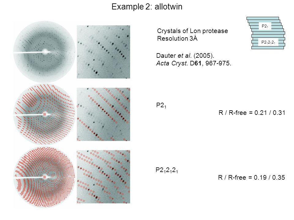 Dauter et al. (2005). Acta Cryst. D61, 967-975. P2 1 P2 1 2 1 2 1 P2 1 R / R-free = 0.21 / 0.31 Crystals of Lon protease Resolution 3Å P2 1 2 1 2 1 R