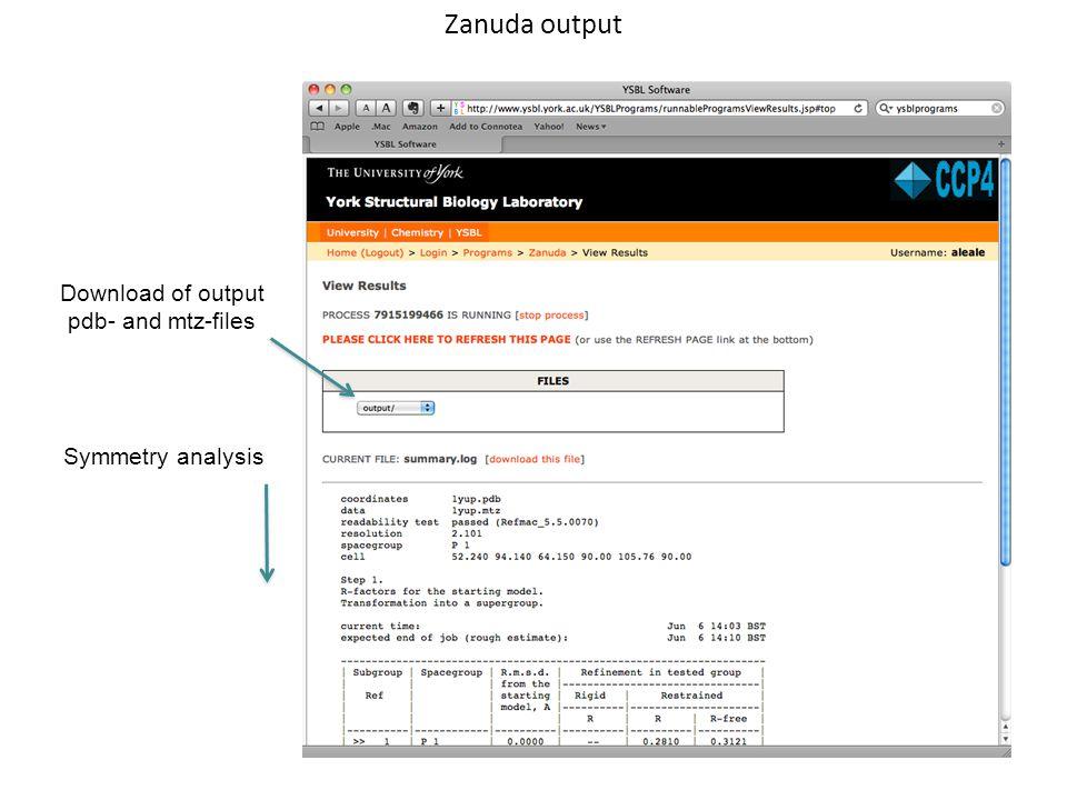 Zanuda output Download of output pdb- and mtz-files Symmetry analysis