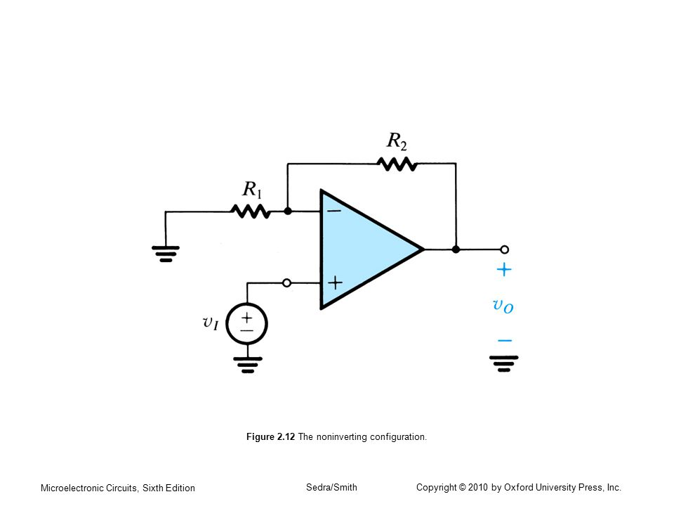 Microelectronic Circuits, Sixth Edition Sedra/Smith Copyright © 2010 by Oxford University Press, Inc. Figure 2.12 The noninverting configuration.