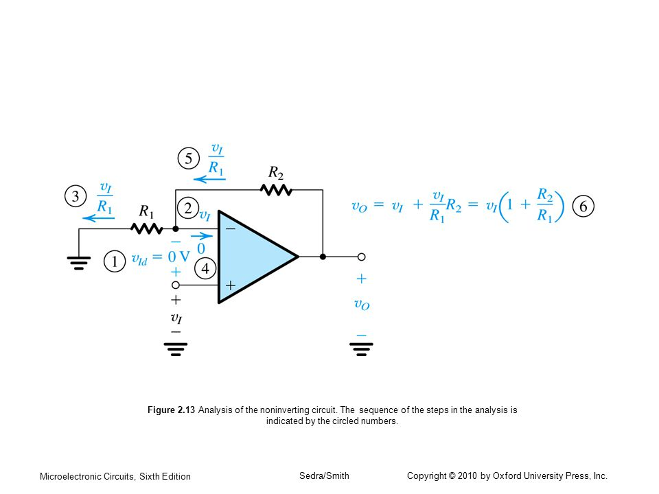Microelectronic Circuits, Sixth Edition Sedra/Smith Copyright © 2010 by Oxford University Press, Inc. Figure 2.13 Analysis of the noninverting circuit
