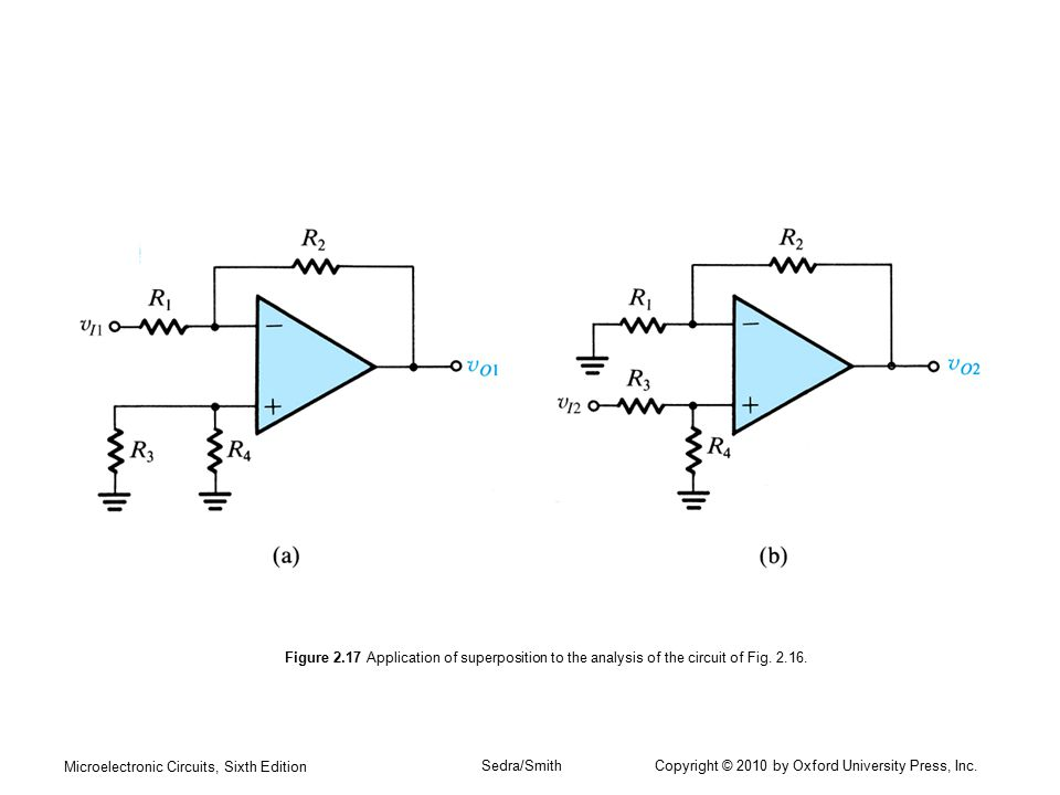Microelectronic Circuits, Sixth Edition Sedra/Smith Copyright © 2010 by Oxford University Press, Inc. Figure 2.17 Application of superposition to the