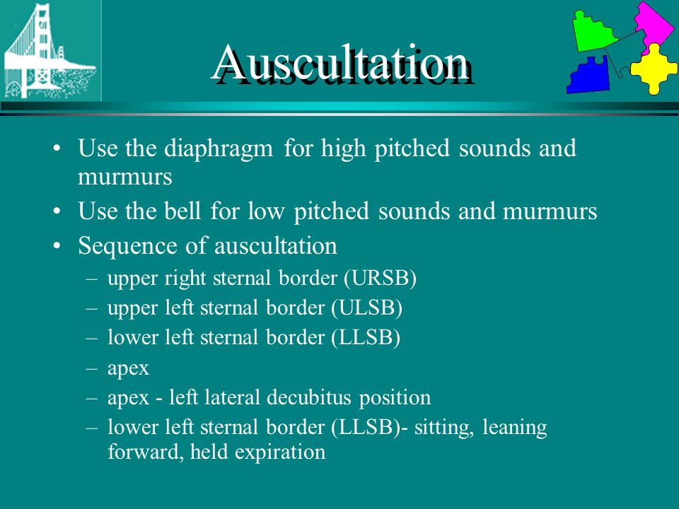 Auscultation Use the diaphragm for high pitched sounds and murmurs Use the bell for low pitched sounds and murmurs Sequence of auscultation –upper right sternal border (URSB) –upper left sternal border (ULSB) –lower left sternal border (LLSB) –apex –apex - left lateral decubitus position –lower left sternal border (LLSB)- sitting, leaning forward, held expiration