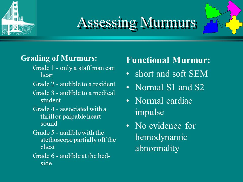 Assessing Murmurs Grading of Murmurs: Grade 1 - only a staff man can hear Grade 2 - audible to a resident Grade 3 - audible to a medical student Grade 4 - associated with a thrill or palpable heart sound Grade 5 - audible with the stethoscope partially off the chest Grade 6 - audible at the bed- side Functional Murmur: short and soft SEM Normal S1 and S2 Normal cardiac impulse No evidence for hemodynamic abnormality
