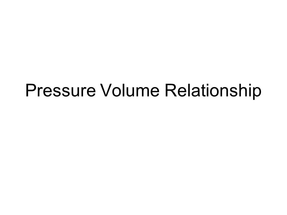 Pressure Volume Relationship