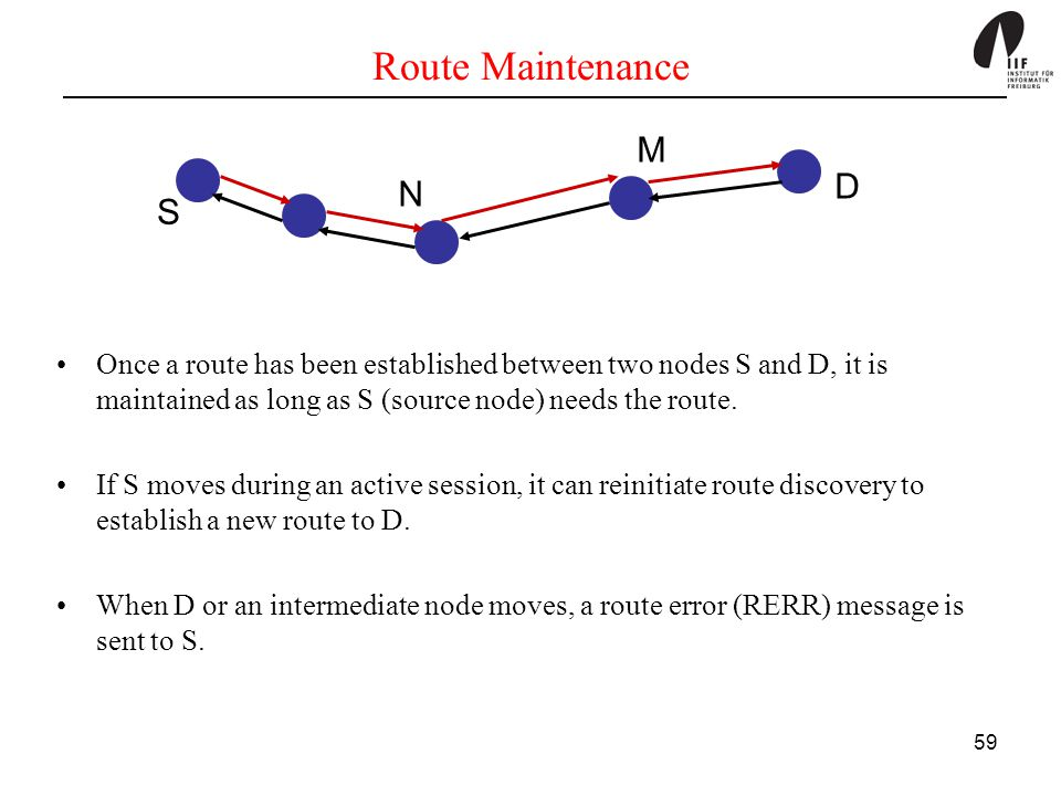 59 Route Maintenance Once a route has been established between two nodes S and D, it is maintained as long as S (source node) needs the route. If S mo