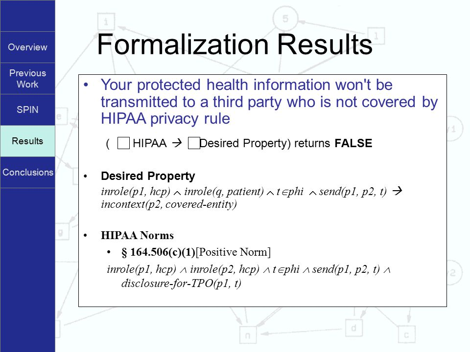Overview Previous Work SPIN Results Conclusions Formalization Results Results Your protected health information won t be transmitted to a third party who is not covered by HIPAA privacy rule ( HIPAA  Desired Property) returns FALSE Desired Property inrole(p1, hcp)  inrole(q, patient)  t  phi  send(p1, p2, t)  incontext(p2, covered-entity) HIPAA Norms § 164.506(c)(1)[Positive Norm] inrole(p1, hcp)  inrole(p2, hcp)  t  phi  send(p1, p2, t)  disclosure-for-TPO(p1, t)