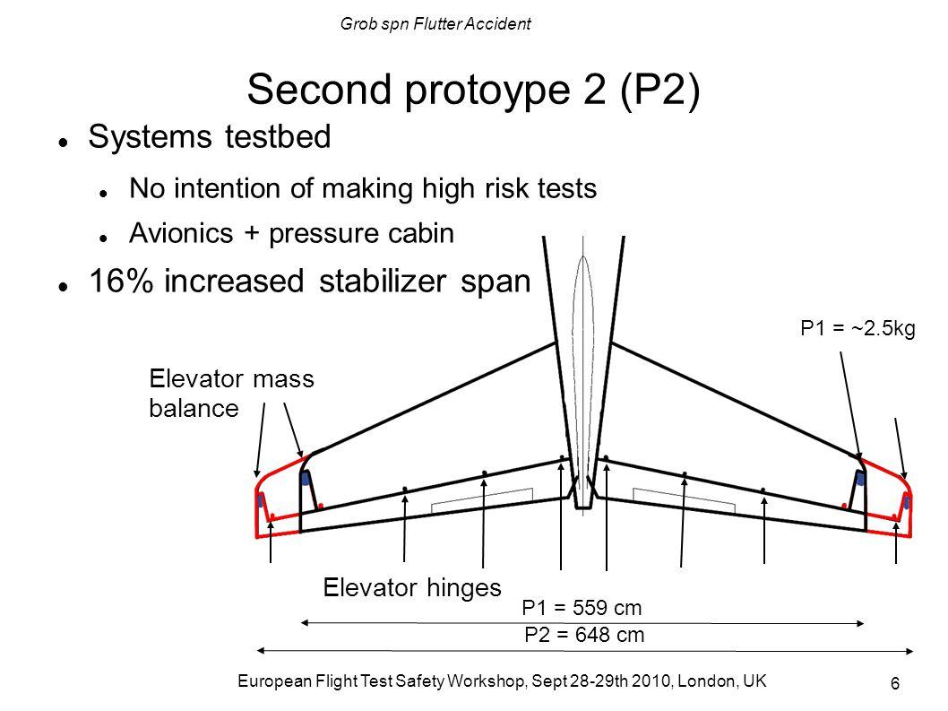 Grob spn Flutter Accident European Flight Test Safety Workshop, Sept 28-29th 2010, London, UK 7 P2 Ground Vibration Test (GVT) External flutter expert GVT result: Tested: 1 kg elevator mass balances = max 135 kts Calculated: 4.5 kg elevator mass balances Improvised retrofit for adjusting mass balance (1) Elevator horn was opened (2) Lead pellet/resin mixture poured into the horn (3) Horn sealed No new GVT after retrofit; no new structure stress/strength recalculation