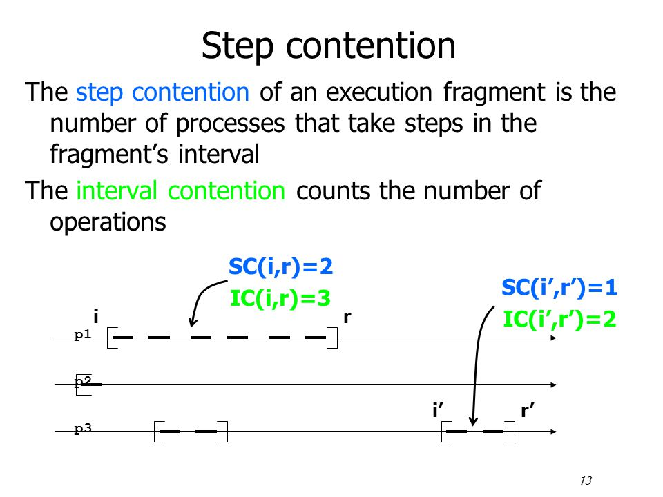 13 Step contention The step contention of an execution fragment is the number of processes that take steps in the fragment's interval The interval con