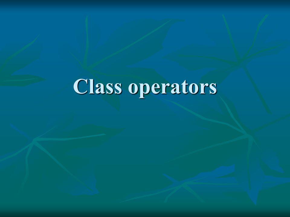 Class operators