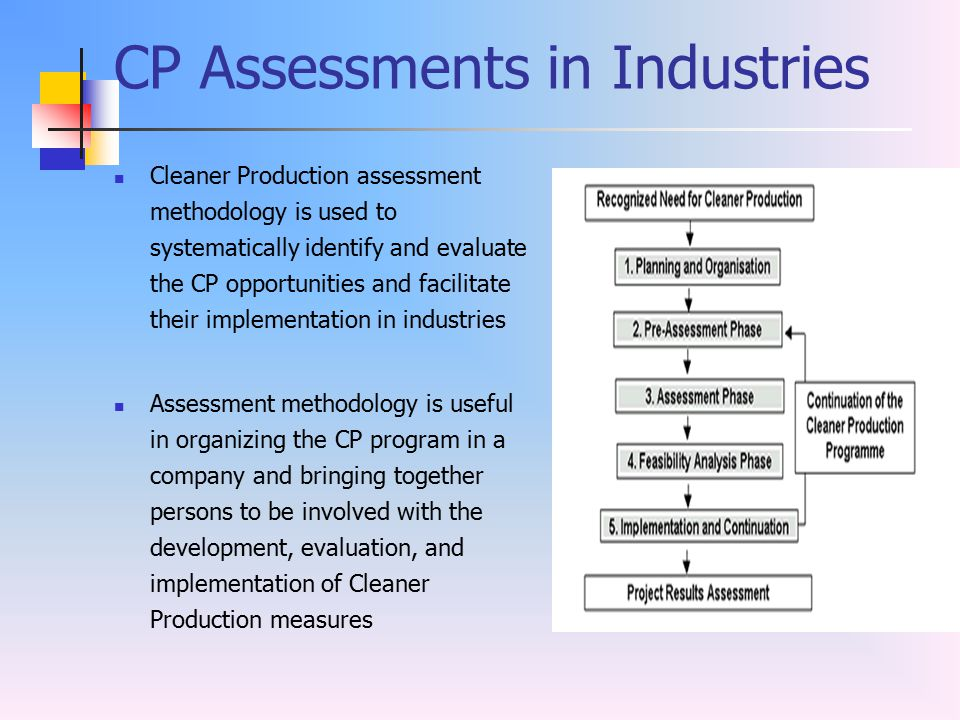 CP Assessments in Industries Cleaner Production assessment methodology is used to systematically identify and evaluate the CP opportunities and facili