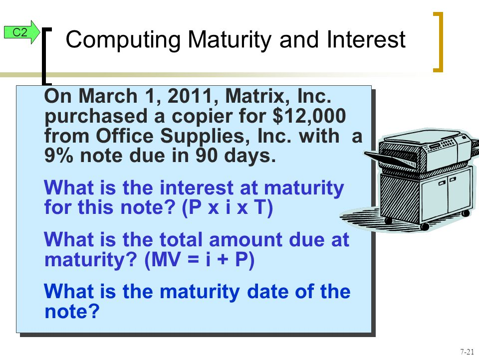 On March 1, 2011, Matrix, Inc. purchased a copier for $12,000 from Office Supplies, Inc. with a 9% note due in 90 days. What is the interest at maturi