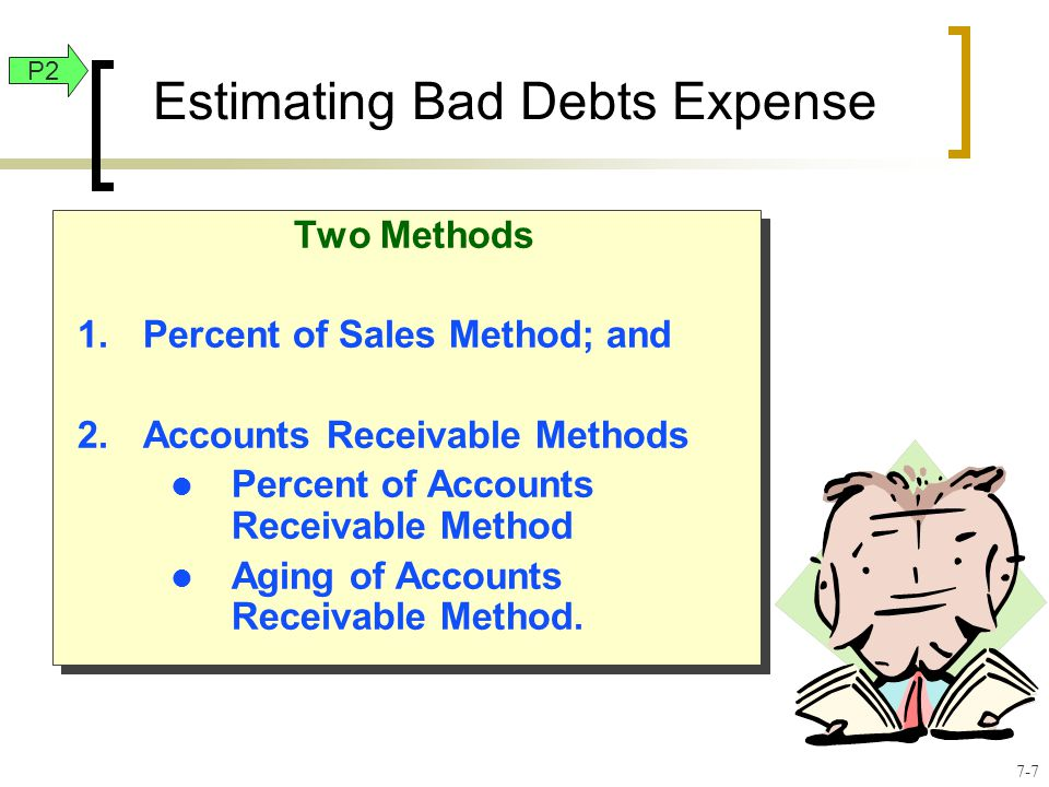 Two Methods 1.Percent of Sales Method; and 2.Accounts Receivable Methods l Percent of Accounts Receivable Method l Aging of Accounts Receivable Method