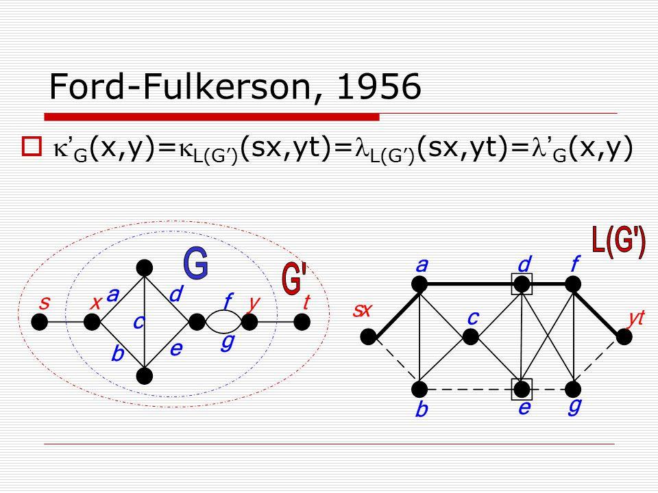 Ford-Fulkerson, 1956   ' G (x,y)= L(G') (sx,yt)= L(G') (sx,yt)= ' G (x,y)