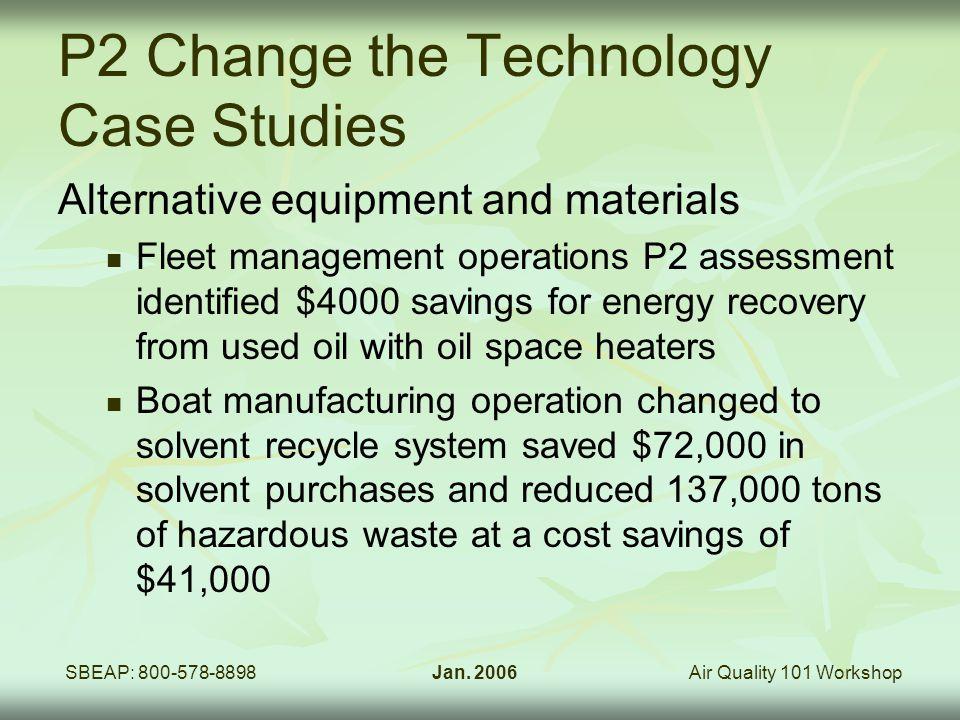 Air Quality 101 WorkshopSBEAP: 800-578-8898Jan. 2006 P2 Change the Technology Case Studies Alternative equipment and materials Fleet management operat