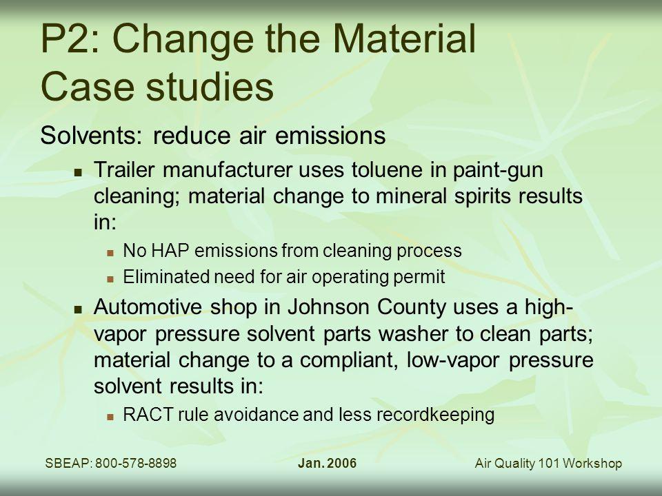 Air Quality 101 WorkshopSBEAP: 800-578-8898Jan. 2006 P2: Change the Material Case studies Solvents: reduce air emissions Trailer manufacturer uses tol