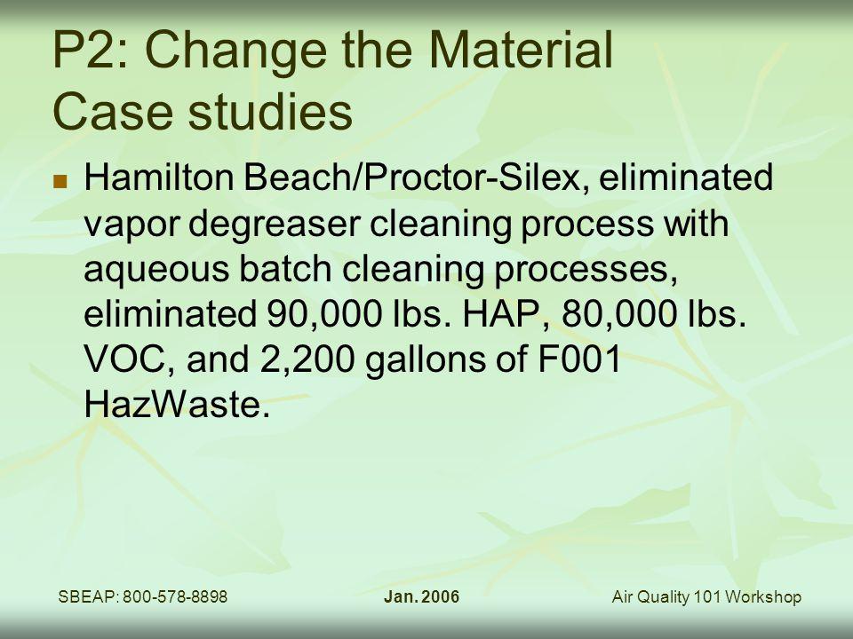 Air Quality 101 WorkshopSBEAP: 800-578-8898Jan. 2006 P2: Change the Material Case studies Hamilton Beach/Proctor-Silex, eliminated vapor degreaser cle