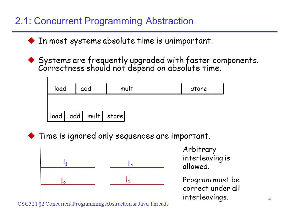 4 CSC321 §2 Concurrent Programming Abstraction & Java Threads  In most systems absolute time is unimportant.  Systems are frequently upgraded with f