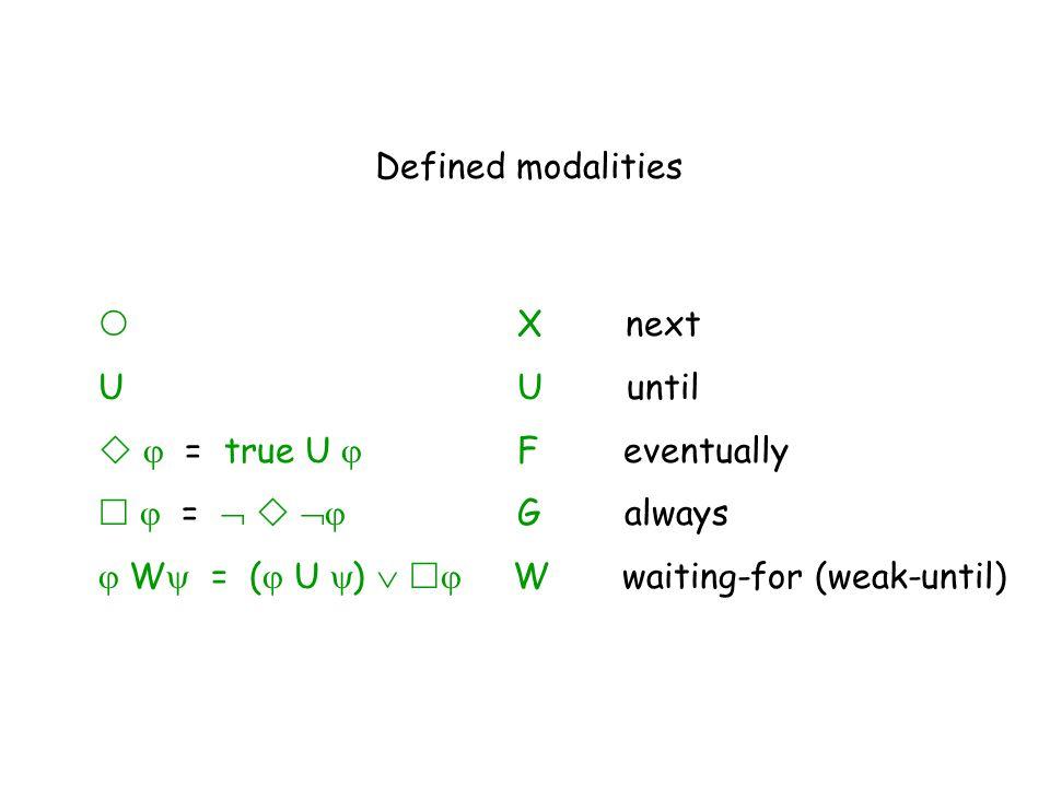  X next U U until   = true U  Feventually   =    G always  W  = (  U  )    W waiting-for (weak-until) Defined modalities