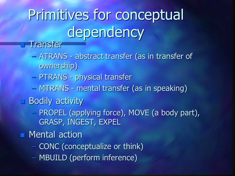 Primitives for conceptual dependency n Transfer –ATRANS - abstract transfer (as in transfer of ownership) –PTRANS - physical transfer –MTRANS - mental transfer (as in speaking) n Bodily activity –PROPEL (applying force), MOVE (a body part), GRASP, INGEST, EXPEL n Mental action –CONC (conceptualize or think) –MBUILD (perform inference)