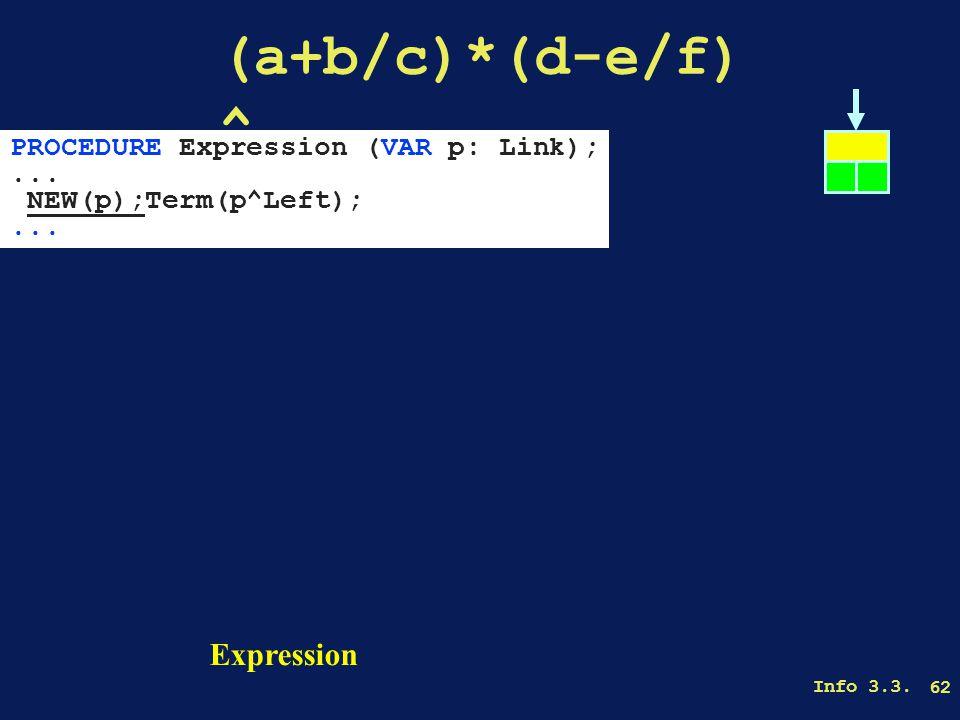 Info 3.3. 62 (a+b/c)*(d-e/f) ^ Expression PROCEDURE Expression (VAR p: Link);...