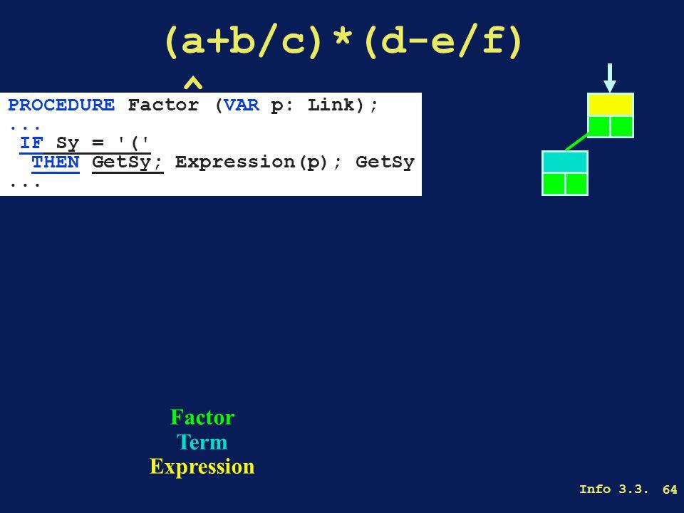 Info 3.3. 64 (a+b/c)*(d-e/f).^ Factor Term Expression PROCEDURE Factor (VAR p: Link);...