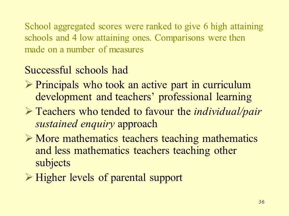 School aggregated scores were ranked to give 6 high attaining schools and 4 low attaining ones.