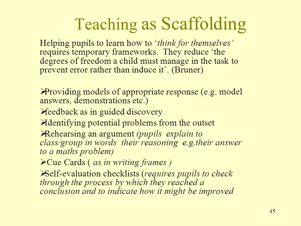 Teaching as Scaffolding Helping pupils to learn how to 'think for themselves' requires temporary frameworks.