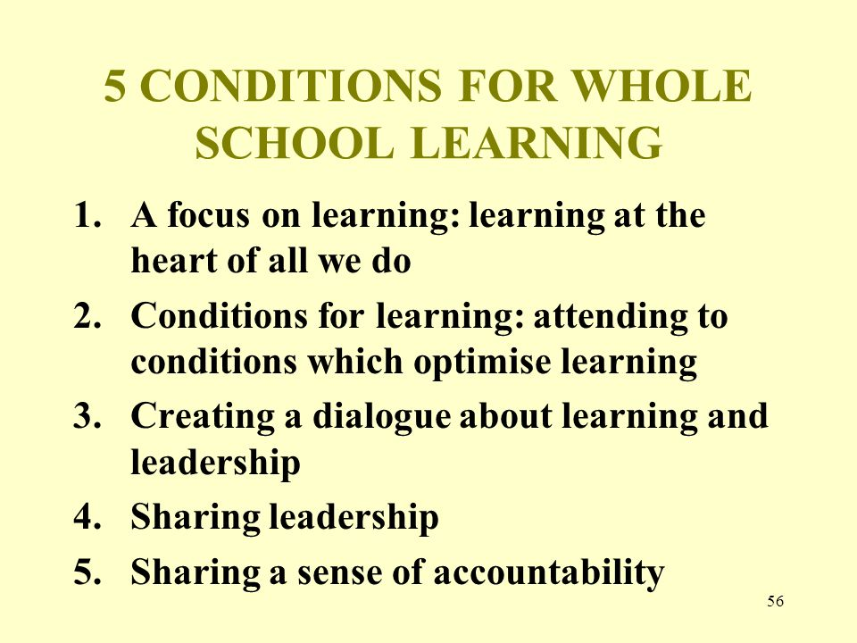 5 CONDITIONS FOR WHOLE SCHOOL LEARNING 1.A focus on learning: learning at the heart of all we do 2.Conditions for learning: attending to conditions which optimise learning 3.Creating a dialogue about learning and leadership 4.Sharing leadership 5.Sharing a sense of accountability 56