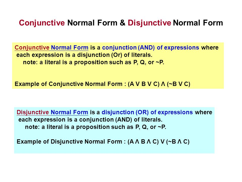Conjunctive Normal Form & Disjunctive Normal Form Conjunctive Normal Form is a conjunction (AND) of expressions where each expression is a disjunction