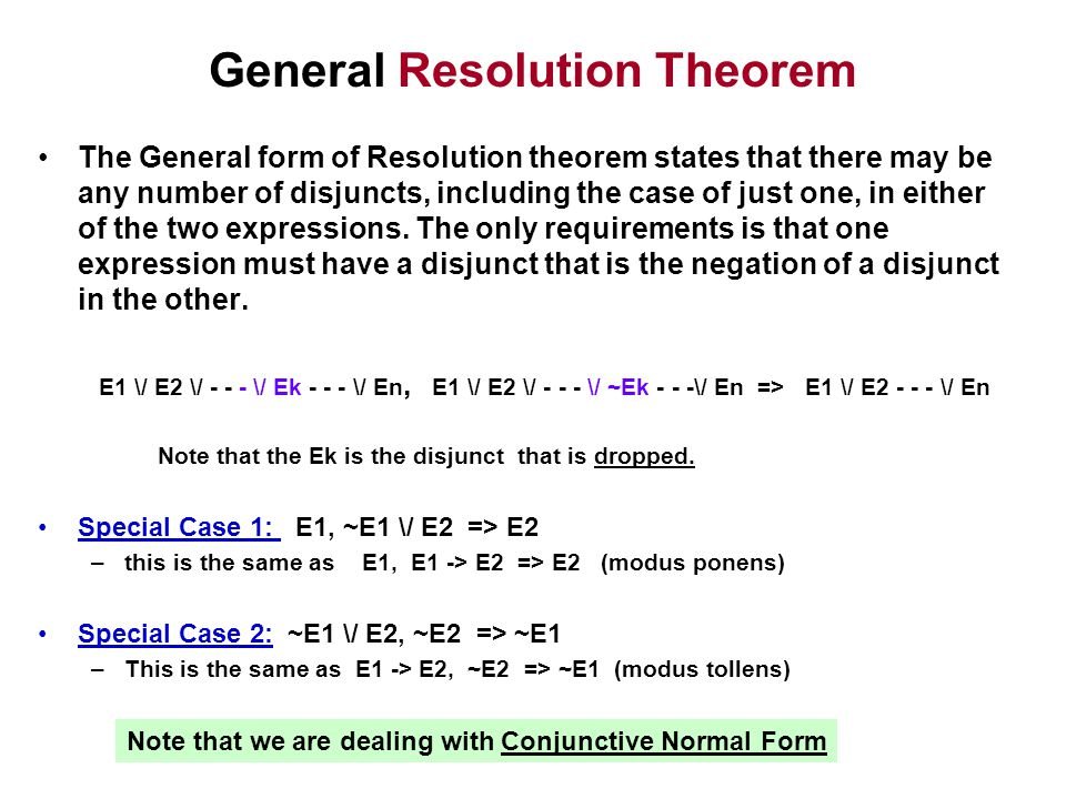 General Resolution Theorem The General form of Resolution theorem states that there may be any number of disjuncts, including the case of just one, in