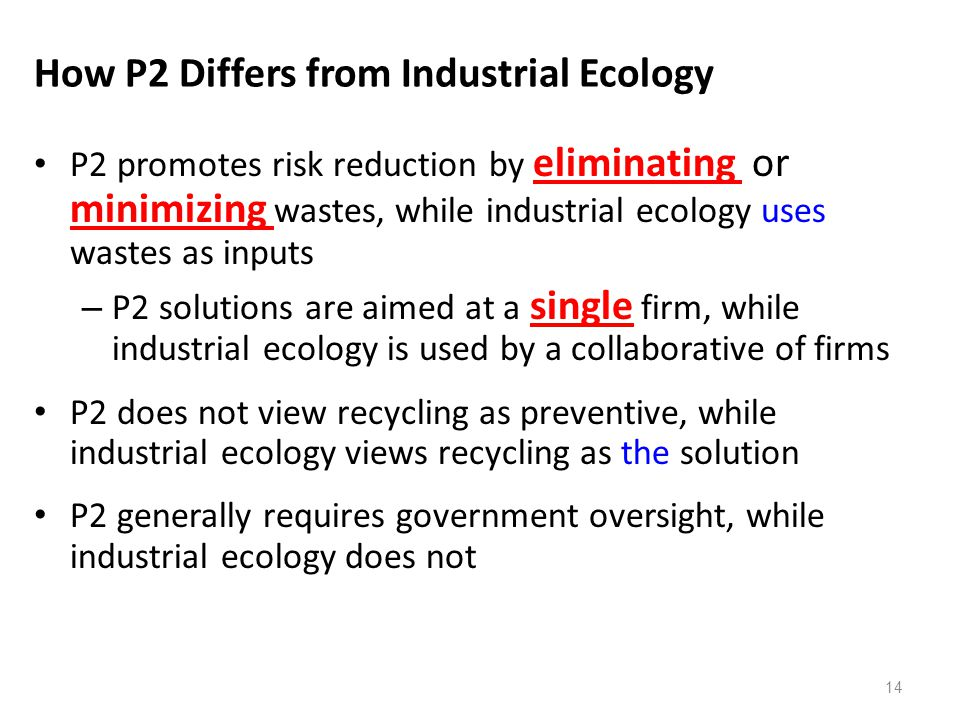 How P2 Differs from Industrial Ecology P2 promotes risk reduction by eliminating or minimizing wastes, while industrial ecology uses wastes as inputs
